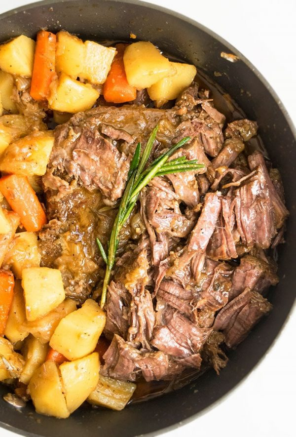 Chuck roast meat that has been cooked with potatoes