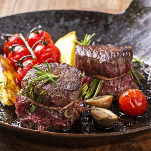 Mouth watering filet mignon that has been cooked