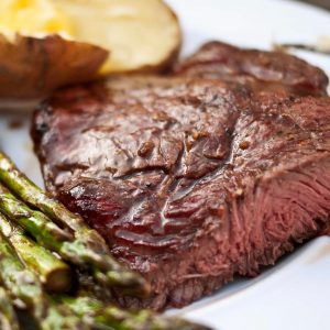 up close image of a perfectly cooked sirloin steak
