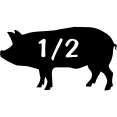 Black silhouette of a pig with half written on it signifying you can buy 1/2 of a pig for your pork needs from Hipwell Ranch of Oreana, Idaho in the Boise area