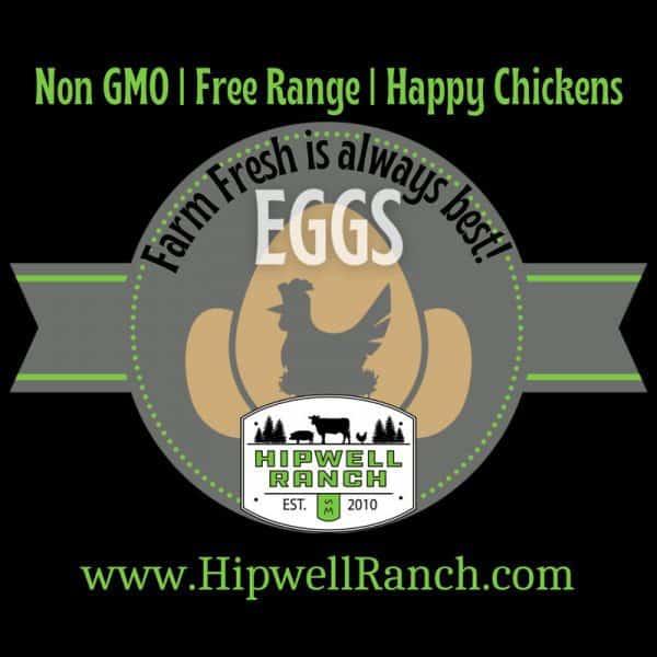 Farm fresh eggs logo from Hipwell Ranch