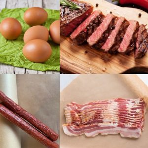 Farm fresh eggs, new york steaks, beef sticks and bacon pictured for Hipwell Ranch's bundle deal